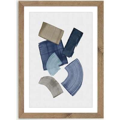 Blue & Brown Paint Blocks Art Print Oak Frame