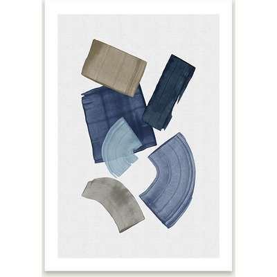 Blue & Brown Paint Blocks Art Print Unframed