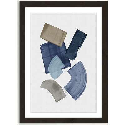 Blue & Brown Paint Blocks Art Print Black Frame
