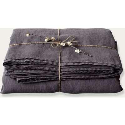 Dark Grey Linen Bed Sheet