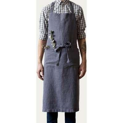Dark Grey Washed Linen Chef Apron