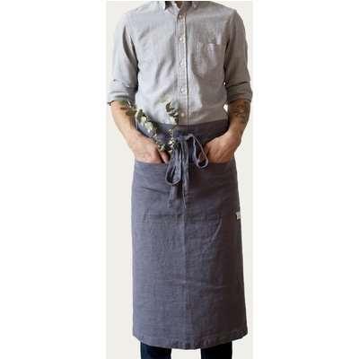 Dark Grey Washed Linen Waist Apron