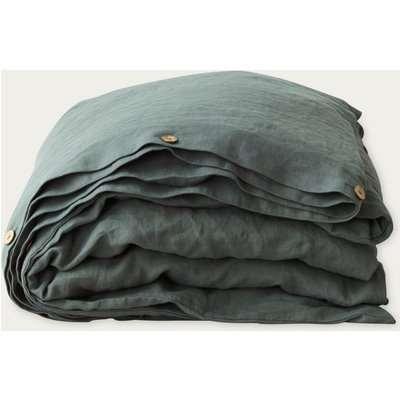 Forest Green Washed Linen Duvet Cover