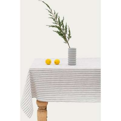 Grey Stripes Washed Linen Tablecloth