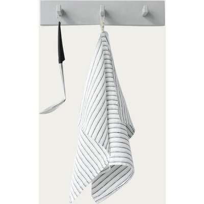 Grey Stripes Washed Linen Tea Towel