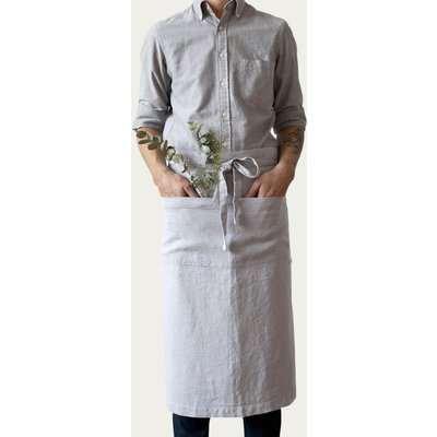 Light Grey Washed Linen Waist Apron