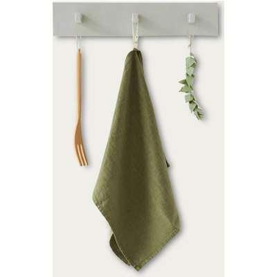 Martini Olive Washed Linen Tea Towel
