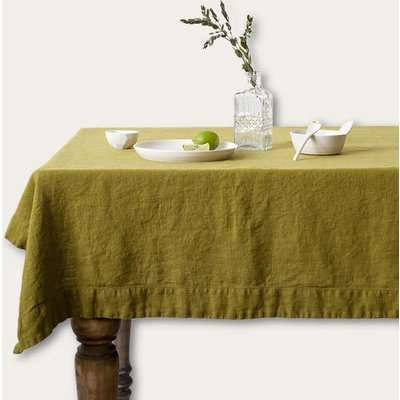 Moss Green Washed Linen Tablecloth