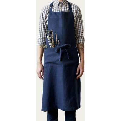 Navy Washed Linen Chef Apron