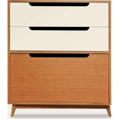 Off White Small Moka Wood Dresser - Honey Oak