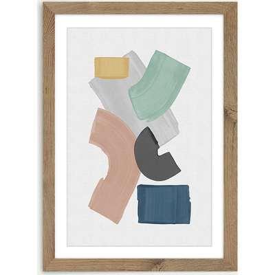 Pastel Paint Blocks Art Print Oak Frame