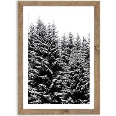 Snowy Christmas Trees Art Print Oak Frame