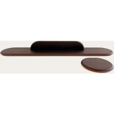 Black Stained Ash Floating Shelf - Leather Outline  Set II