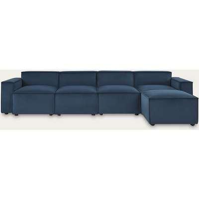 Teal Model 03 Velvet 4 Seater Right Chaise Sofa