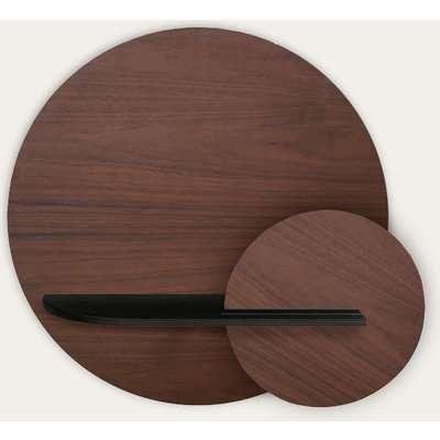 Walnut, Black and Walnut Alba M Circle Wall Shelf