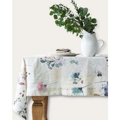 Watercolor Print Washed Linen Tablecloth