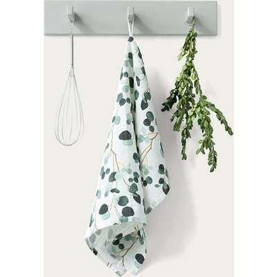 White Eucalyptus Washed Linen Tea Towel
