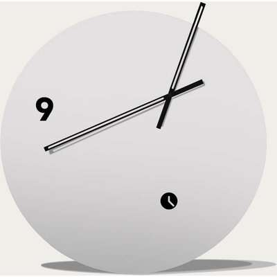 White Lacquered Finished Slice Table Clock