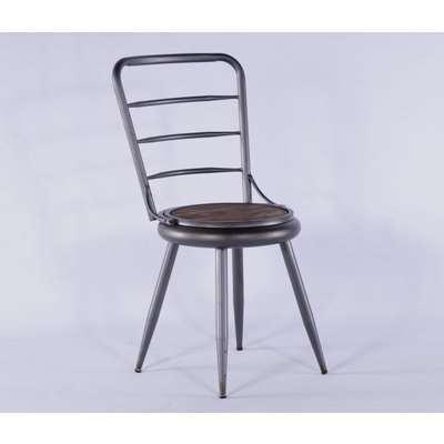 2 X Urban Deco Grey Metal Dining Chair