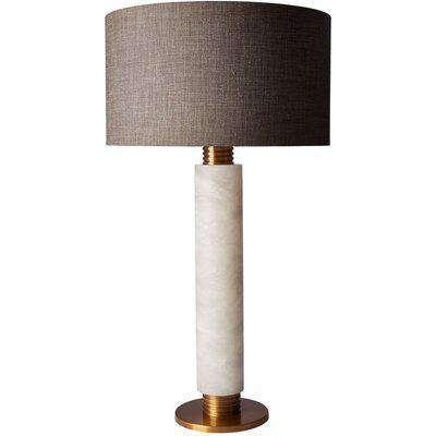 Heathfield Alamo Alabaster Table Lamp with Gunmetal Glaze Linen Shade