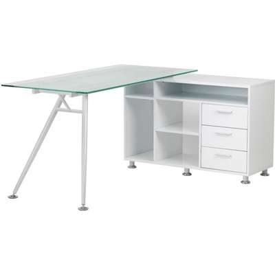 Alphason Augusta White Glass Corner Desk - AW13366A-CL