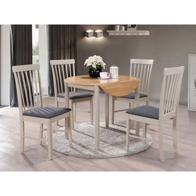 Altona Round Drop Leaf Extending Dining Table and 4 Chairs - Oak and Stone Grey Painted