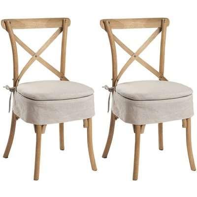Asbury Reclaimed Pine Cross Back Dining Chair (Pair)