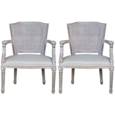 Asbury Tacoma Whitewashed Fabric Dining Armchair (Pair)