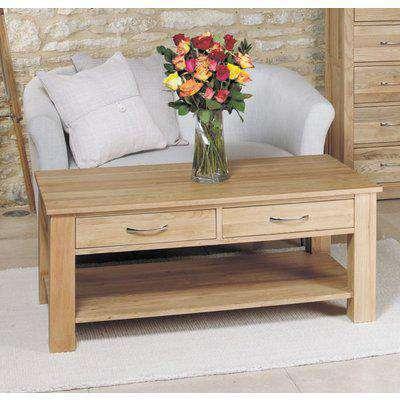 Mobel Oak Coffee Table - 4 Drawer - Baumhaus
