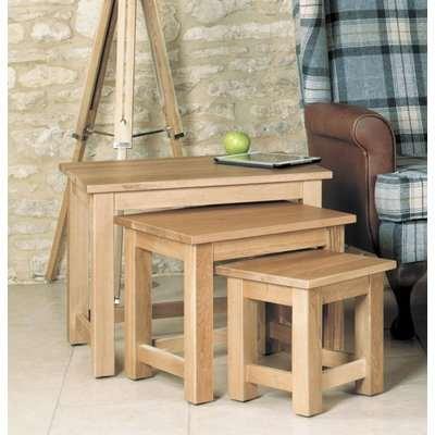 Mobel Oak Nest of 3 Coffee Tables - Baumhaus