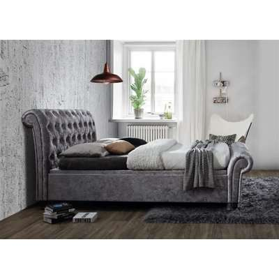 Birlea Castello Steel Crushed Velvet Side Ottoman Bed