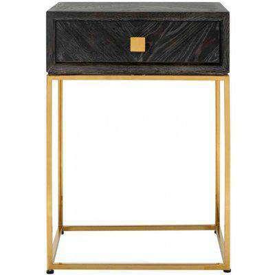 Blackbone Black Oak and Gold 1 Drawer Bedside Table