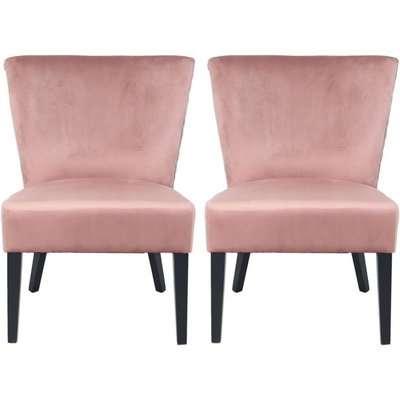 Blush Pink Velvet Tufted Back Dining Chair (Pair)