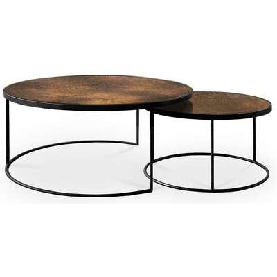 Notre Monde Bronze Heavy Aged Mirror Round Nesting Coffee Table Set