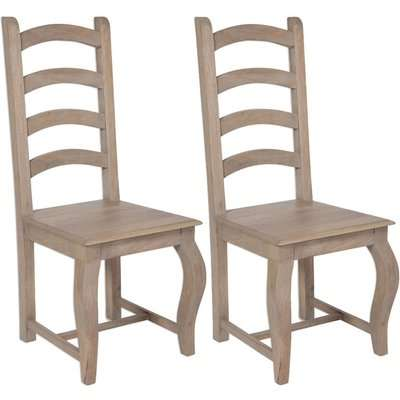 Calais French Style Lime Washed Dining Chair - High Back (Pair)