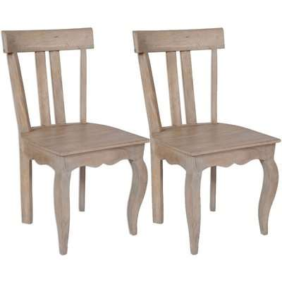 Calais French Style Lime Washed Dining Chair - Low Back (Pair)