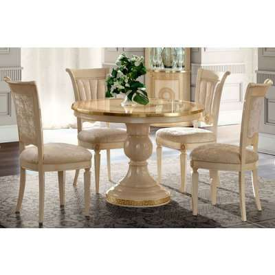 Camel Aida Day Ivory Italian Round Extending Dining Table