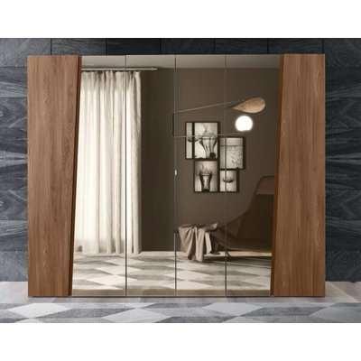 Camel Akademy Night Italian Wooden 5 Door Wardrobe with Mirror
