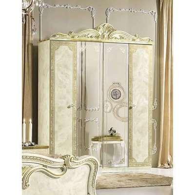Camel Leonardo Italian Ivory High Gloss 4 Door Wardrobe