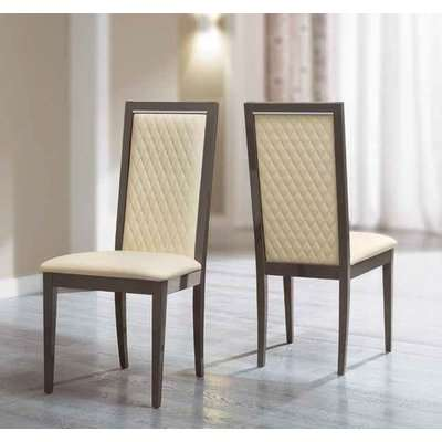 Camel Platinum Day Rombi Ivory Eco Leather Upholstered Italian Dining Chair with Padded Back