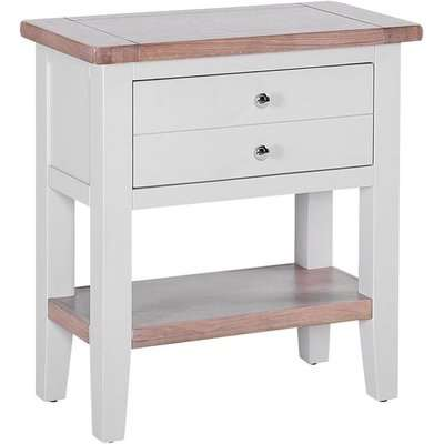 Chalked Oak and Light Grey 1 Drawer Bedside Table