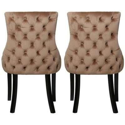 Champagne Velvet Tufted Back Dining Chair (Pair)