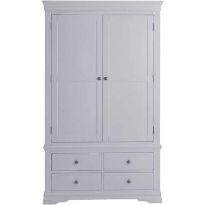 Chantilly Moonlight Grey Painted Rectangular Wall Mirror - 100cm x 60cm