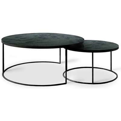 Notre Monde Charcoal Heavy Aged Mirror Round Nesting Coffee Table Set