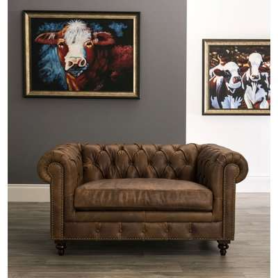Hampton Chesterfield Brown Leather Snuggle Armchair