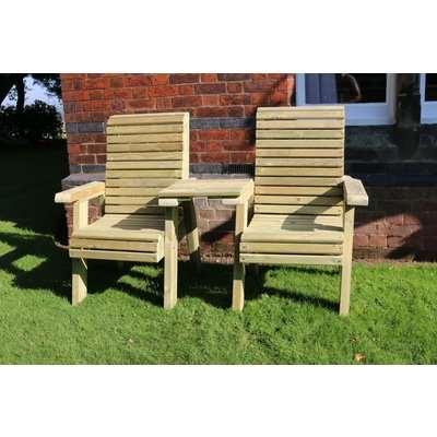 Churnet Valley Ergo Garden Love Seats Square Tray Garden Chair