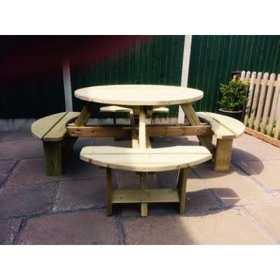 Westwood Round Picnic Table Set with 4 Benches - Churnet Valley