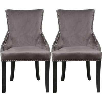 Clearance - Grey Velvet Tufted Back Dining Chair (Pair) - New - E-23