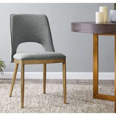 Clearance - Malton Brass and Grey Linen Fabric Dining Chair (Pair) - New - E-38