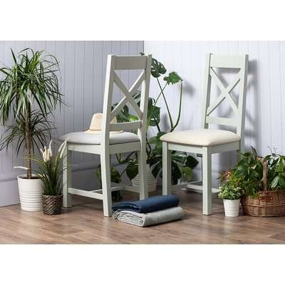 Costwold Oak and Grey Painted Cross Back Dining Chair (Pair)